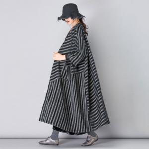 British Style Plus Size Winter Coat Vintage Black Striped Overcoat