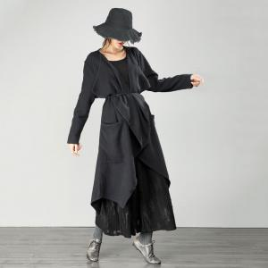 Fashion Cotton Linen Duster Coat Black Asymmetrical Streetwear
