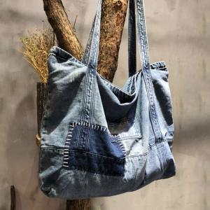 Black Gray Patchwork Denim Bag Korean Hobo Bag