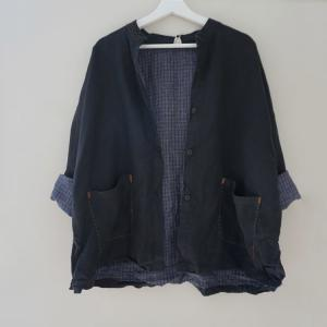 Japanese Style Linen Black Blazers Plus Size Front Pockets Shirt Cardigan