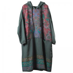 Ethnic Printed Hoodie Dress Womans Long Oversized Hoodie