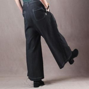 Elegant Pinstriped Wide Leg Pants Cotton Linen Palazzo Pants with Belts