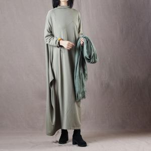 Solid Color Knitting Designer Dress Asymmetric Maxi Dress