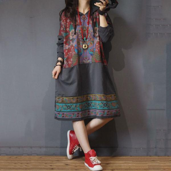 Folk Style Printed Hoodie Dress Plus Size Cotton Long Hoodie
