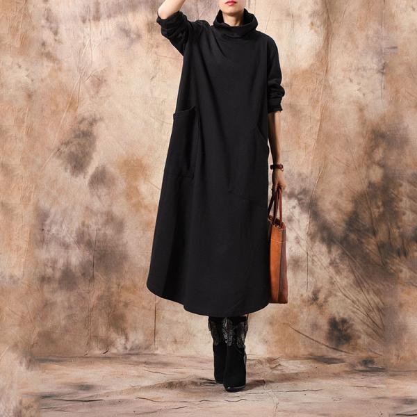 Asymmetrical Knitting Turtleneck Dress Winter Flare Dress