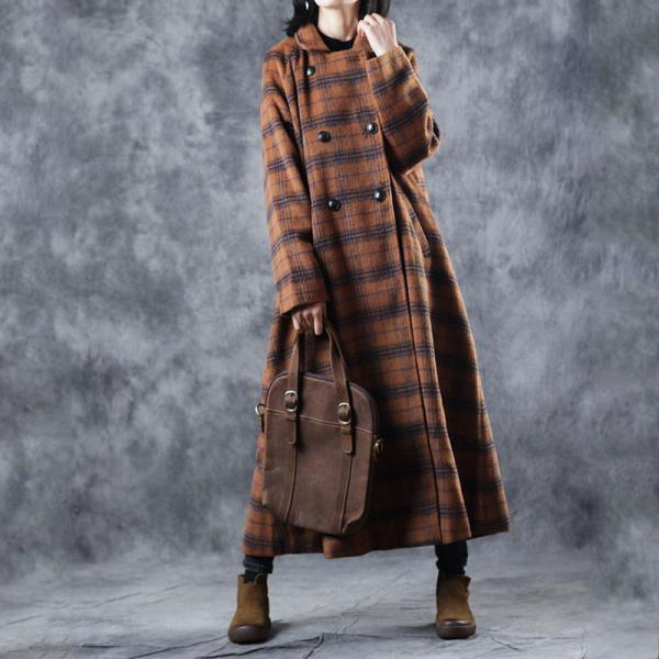 British Checkered Wool Overcoat Retro Double Breasted Coat for Woman