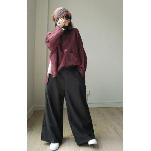 Solid Color Vintage Wide Leg Trousers Linen Palazzo Pants