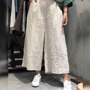Over40 Style Linen Chinese Pants Womans Casual Yoga Trousers