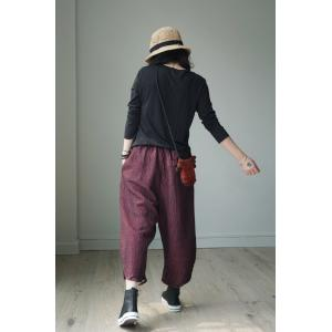 Unique Design Womans Bootcuts Linen Vintage Quilted Pants