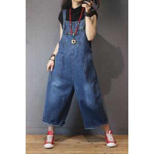 Preppy Style Patch Pockets Jeans Jumpsuits Fashion Denim Overalls