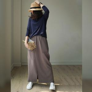 Basic Style Cotton Maxi Skirt Front Slits Fashion A-Line Skirt