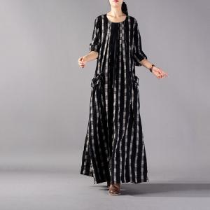 Beautiful Cotton Linen Maxi Dress Front Pockets Plus Size Caftan ...
