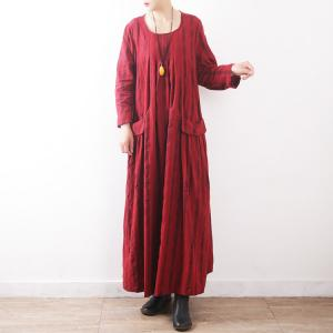 Beautiful Cotton Linen Maxi Dress Front Pockets Plus Size Caftan