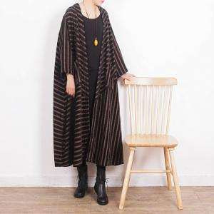 Retro Fashion Coffee Striped Overcoat Front Pockets Plus Size Coat