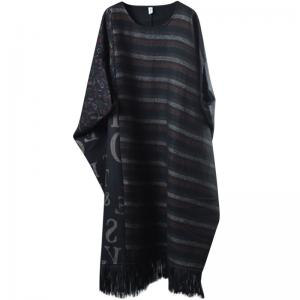 Bat Sleeve Striped Plus Size Caftan Wool Fringed Dress