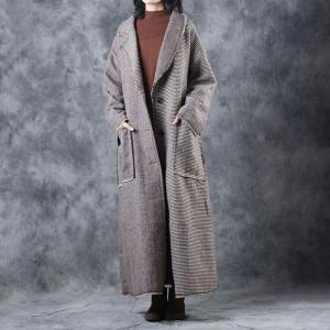 Wide Lapel British Wool Coat Plus Size Checkered Coat with Belts