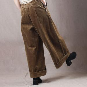 Comfy Corduroy Wide Leg Pants Casual Slack for Woman