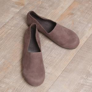 Round Toe Cowhide Leather Flats Womans Ballerina Shoes