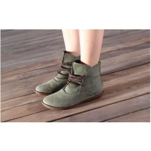Japanese Style Vintage Ankle Boots Cowhide Leather Short Boots