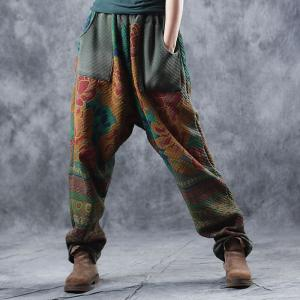 Vintage Printed Quilted Harem Pants Casual Cotton Green Trousers
