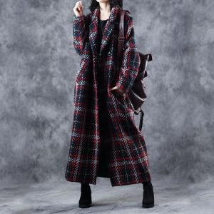 British Style Plaids Double Breasted Coat Womans Retro Tweed Coat