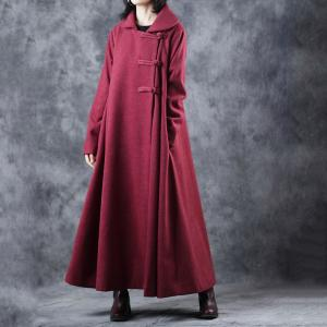 Chinese Style Pankou Ornament Wool Coat Large Red Overcoat for Senior Woman