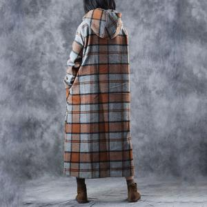 British Fashion Orange Plaids Hooded Coat Winter Elegant Overcoat