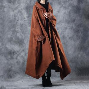 Original Design Double-Faced Wool Coat Caramel Cape Overcoat
