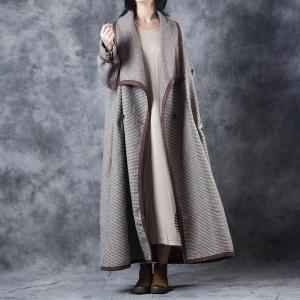Wide Lapel Little Plaids Elegant Coat Winter Wool Overcoat for Woman