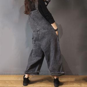 Flap Pockets Denim Frayed Jumpsuits Black Baggy Overalls for Woman