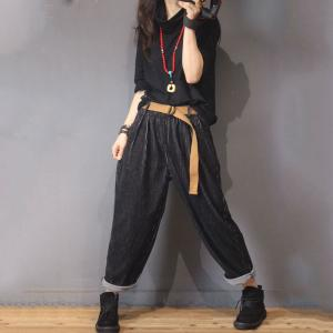 Glittering Corduroy Pants Womans Black Casual Trousers with Belts