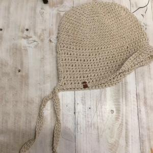 Cotton Linen Knitted Hat Womans Monochromatic Beanie with Plait