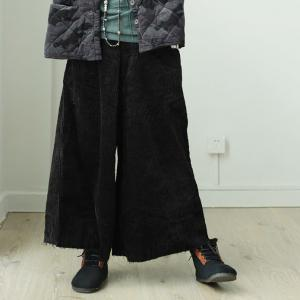 Frayed Hem Wide Leg Pants Corduroy Black Trousers for Senior Woman