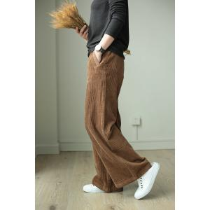 Leisure Style Corduroy Palazzo Pants Womans Long Yoga Pants