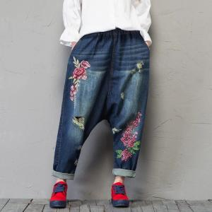 Street Fashion Rose Embroidery Harem Pants Loose Ripped Jeans