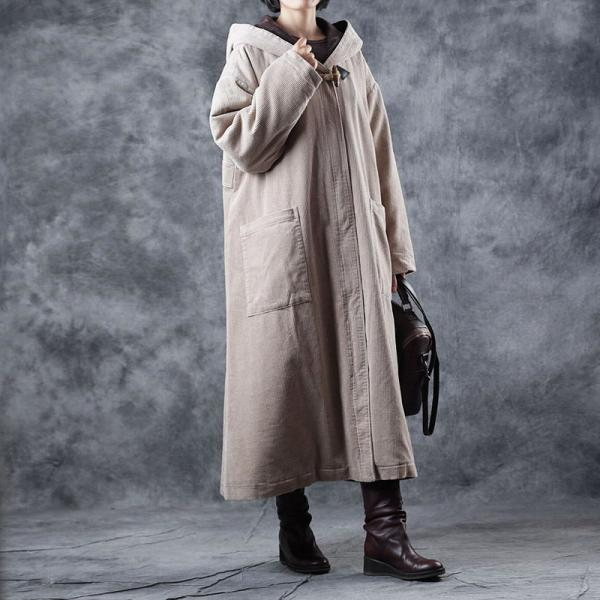 Beige Corduroy Hooded Coat Large Size Puffer Coat for Woman