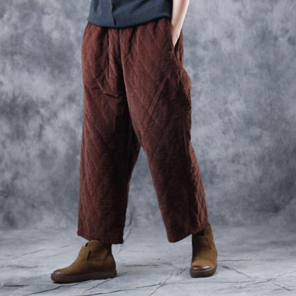 Coffee Corduroy Pants Rhombus Quilted Trousers for Senior Woman