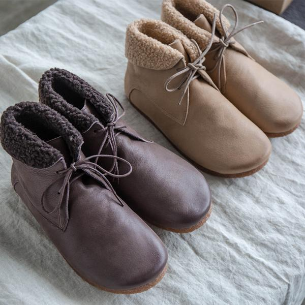 Retro Fashion Lamb Wool Boots Calf Leather Comfy Shoes