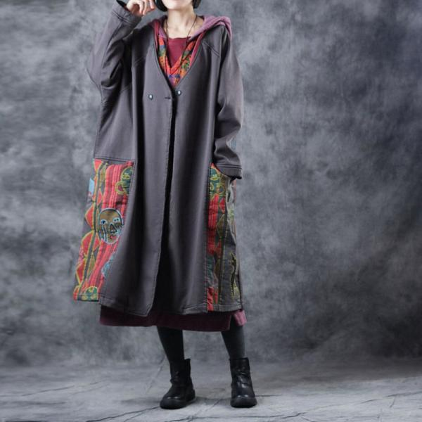 Ethnic Vintage Cartoon Overcoat V-Neck Cotton Coat for Woman