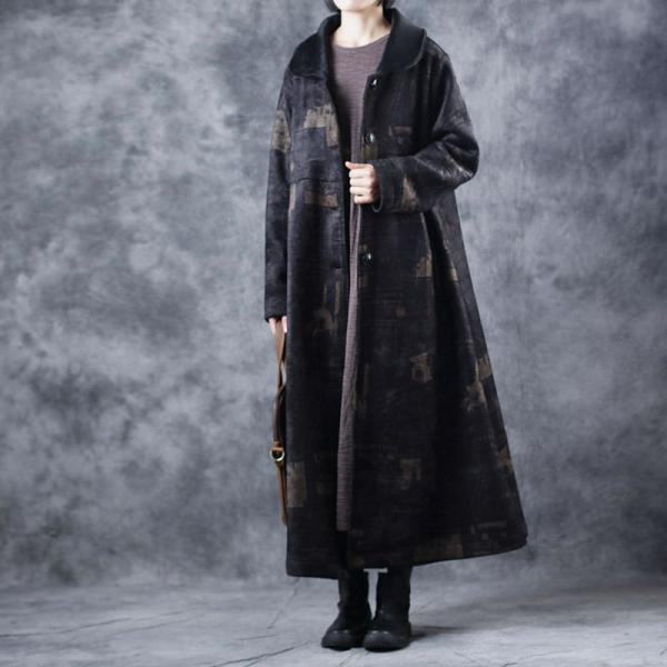 Over50 Style Printed Black Coat Loose Vintage Overcoat for Woman