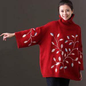 New Arrival Plus Size Black Sweater Turtleneck Flowers Embroidered Sweater