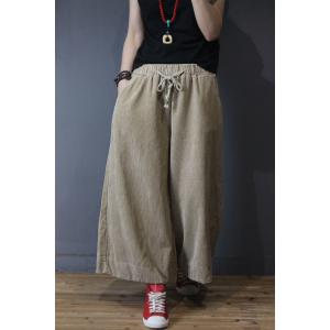 Color Fading Corduroy Wide Leg Pants Womans Vintage Baggy Trousers