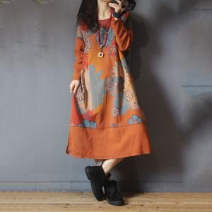Loose-Fitting Printed Dress Cotton Casual T-shirt Dress