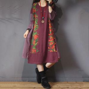 Casual Style Printed Plus Size Dress Vintage Long Sleeve Dress