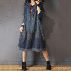 Over50 Style Cotton Folk Dress Large Size Printed Hooded Dress
