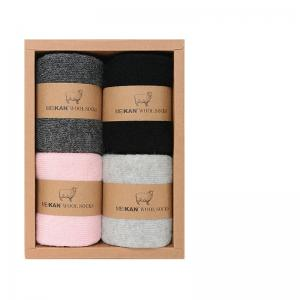 A Box of Winter Wool Crew Socks Solid Color Cute Socks