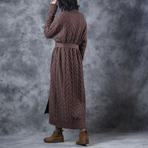 Over40 Style Long Sleeve Cardigan Belted Cable Knitted Outerwear