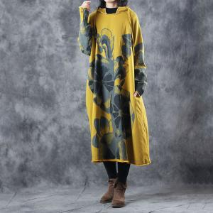 Big Flowers Printed Hoodie Dress Plus Size Cotton Casual Dress