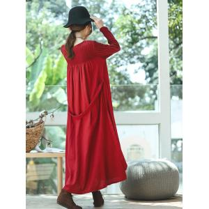 Loose-Fitting Pleated Linen Maxi Dress Custom Red Designer Dress