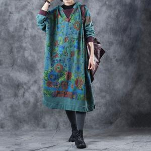 Casual Style Cotton Printed Pregnancy Dress Vintage Green Dress